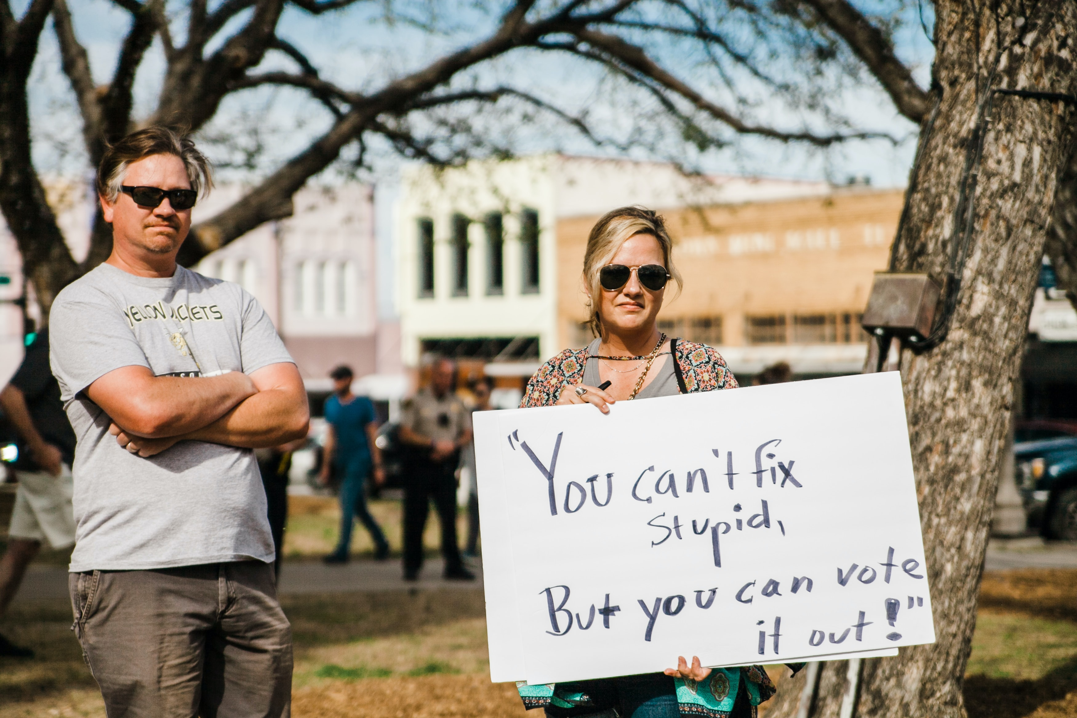 A North Texas couple with protest sign at the March for Our Lives rally in Denton, Texas.